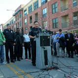 Austin Police Chief Art Acevedo (center, at lectern) speaks Thursday March 13,  at a press conference in downtown Austin after two people were killed and more than 20 people were injured after a man in a car attempted to evade police at about 12:30 a.m. The driver of the vehicle sped down a barricaded portion Red River street where the South by Southwest Music Festival was taking place and hit more than 20 people in his car. A cyclist from the Netherlands was killed and a female riding on a moped was killed. The suspect, a black adult male, was tazed and apprehended and will face capital murder charges.