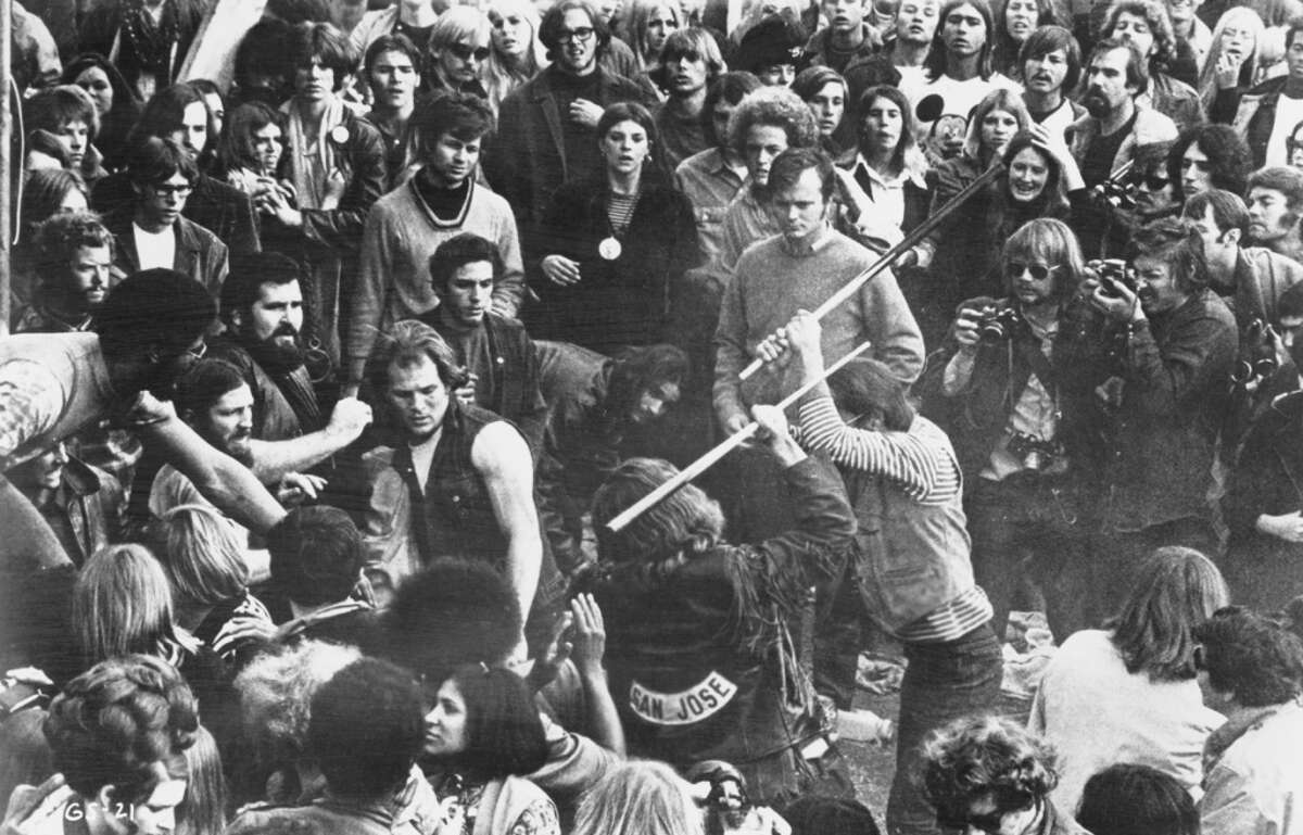Altamont Free Concert(Dec. 6, 1969 - Altamont Speedway, Calif.) : Four people are killed and as many as 850 injured when the Hells Angels members hired as security reportedly clash with members of the audience there to see The Rolling Stones, Jefferson Airplane, the Grateful Dead and others. Among the deaths was audience member Meredith Hunter who was stabbed repeatedly by a member of the Hells Angels after he drew a gun in the crowd in retaliation for being punched in the face. (Photo by 20th Century Fox/Michael Ochs Archives/Hulton Archive/Getty Images)