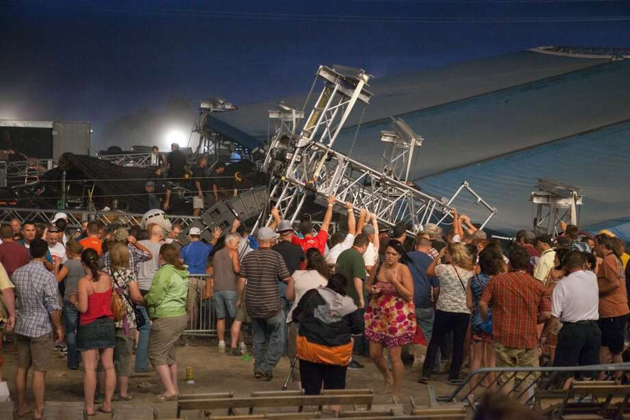 Indiana State Fair(Aug. 13, 2011 – Indianapolis, Ind.): Seven people are killed when a stage collapses during a performance by the band Sugarland. (Photo by Joey Foley/Getty Images) Photo: Joey Foley, Getty Images