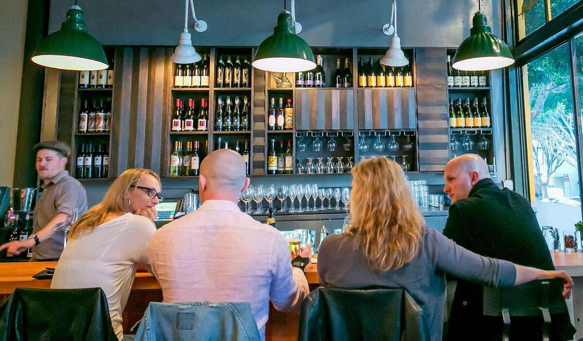 The bar at Stones Throw offers a varied and excellent collection of beer and wine, with exceedingly reasonable markups.