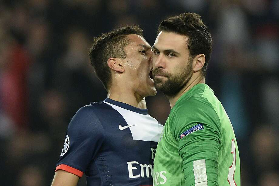 'You da man!' (or the French equivalent):Paris defender Marquinhos screams into teammate Salvatore Sirigu's face after the goalkeeper stopped a penalty shot during a UEFA Champions League match between Paris Saint Germain and Bayer Leverkusen. Photo: Franck Fife, AFP/Getty Images