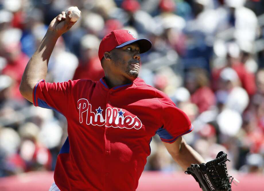 Roberto Hernandez took a perfect game into the sixth inning as the Phillies beat a Yankees split-squad 6-2 on Thursday. Photo: Kathy Willens, Associated Press