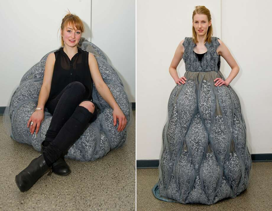 A chair you can wear:Designer Ramona Huppert (left) says her beanbag chair creation doubles as a dress. (Fahmoda fashion and design academy in Hanover, Germany.) Photo: Christoph Schmidt, AFP/Getty Images