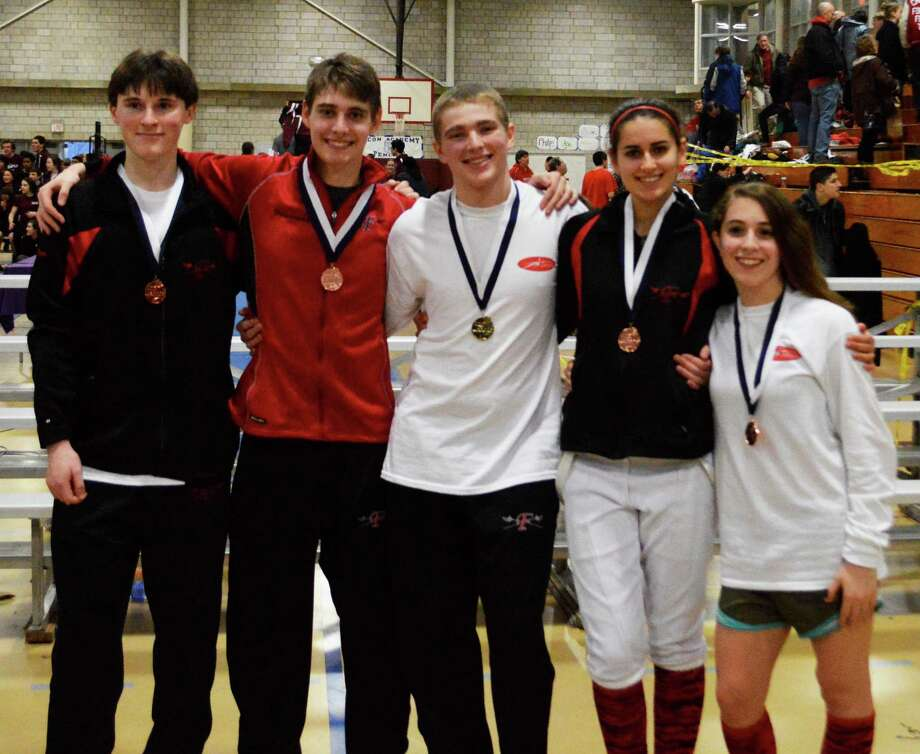 Fairfield co-op All-State fencers are, from left, Fairfield Ludlowe senior Matthew Love, Fairfield Warde senior Ben Friedrichs, Ludlowe senior George Whiteside, Ludlowe senior Alexandra Morrison and Ludlowe sophomore Gabby Rotar-Crowe. Photo: Contributed Photo / Fairfield Citizen