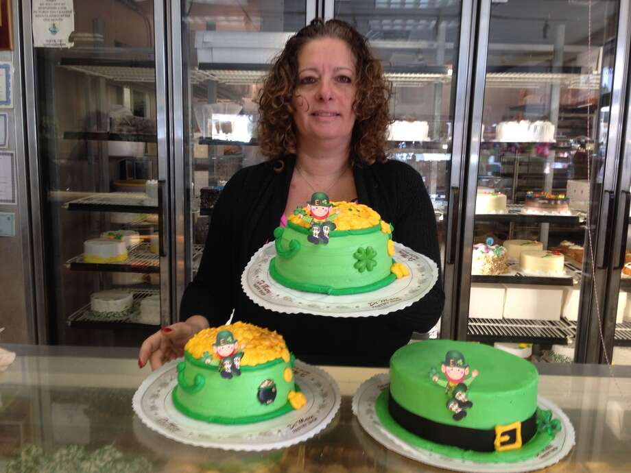 DiMare Pastry Shop in Stamford has a full array of cakes decorated for St. Patrick's Day. Owner Sabrina DiMare shows off a couple of the designs. They've also got Irish soda bread and cheesecakes flavored with Guinness and Bailey's Irish Cream.