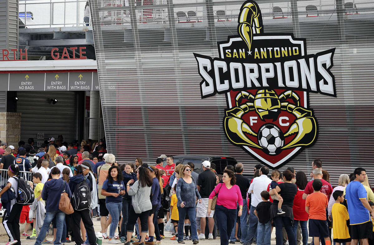 San Antonio Scorpions fans await entrance to the new Toyota Field soccer stadium last year. The stadium seats 8,300 but was designed to accommodate an expansion to 18,500 seats, which is the baseline required by MLS.