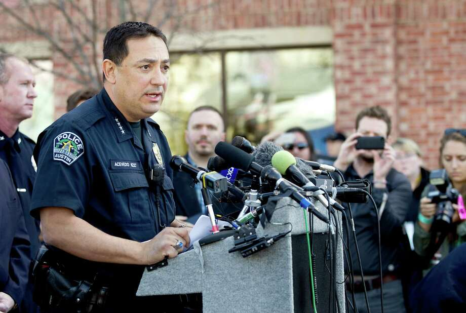 Austin Police Chief Art Acevedo addresses the media during a press conference about Thursday morning's tragic accident during SXSW when  Rashad Charjuan Owens, 22, of Killeen, drove a vehicle past barricades and into a crowd of people at Red River and Ninth Streets in downtown Austin, Texas. The crash killed two people and injured 23 more. Photo: Laura Skelding, Associated Press / Austin American-Statesman