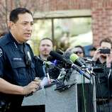 Austin Police Chief Art Acevedo addresses the media during a press conference about Thursday morning's tragic accident during SXSW when  Rashad Charjuan Owens, 22, of Killeen, drove a vehicle past barricades and into a crowd of people at Red River and Ninth Streets in downtown Austin, Texas. The crash killed two people and injured 23 more.