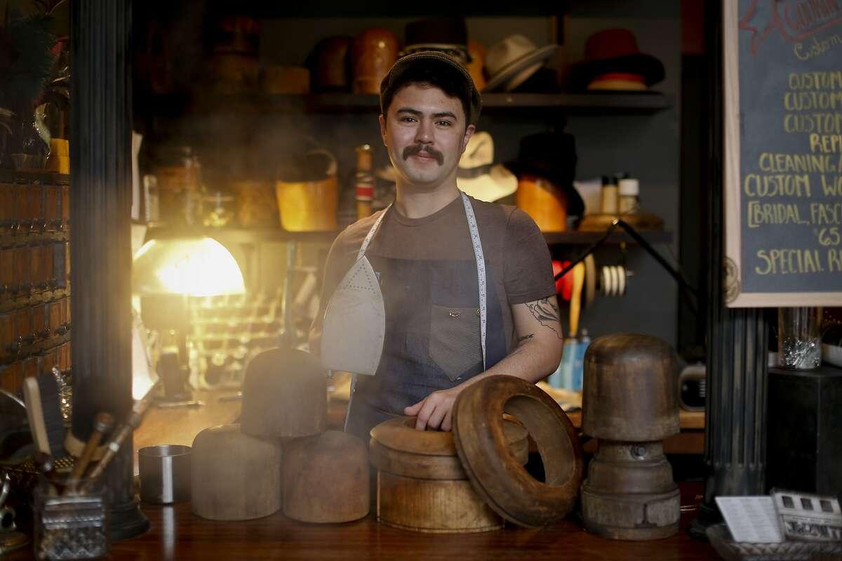 Goorin Bros. milliner Ron Schiller works at the North Beach shop on Wednesday, Jan. 29, 2014 in San Francisco, Calif.