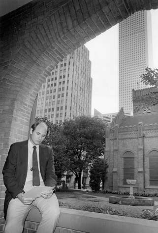 From the Oct. 19, 1982, Houston Chronicle: Children of downtown office workers will soon play in the courtyard of Christ Church Episcopal Cathedral, 1117 Texas. The Very Rev. Pittman McGehee, dean of the cathedral, reviews plans for a day care and Montessori school to open in January. Photo: Ben DeSoto, Houston Chronicle / Houston Chronicle