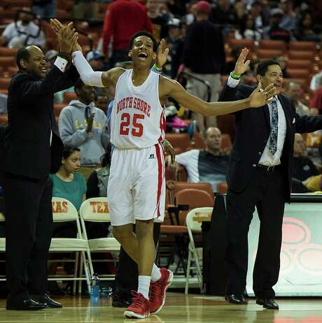 Galena Park North Shore's Jarrey Foster (25) celebrates in the final minute of a victory over Converse Judson in the boys' UIL Class 5A state basketball championship game on Saturday, March 8, 2014, in Austin.  (Smiley N. Pool / Houston Chronicle ) Photo: Smiley N. Pool, Staff / © 2014  Houston Chronicle
