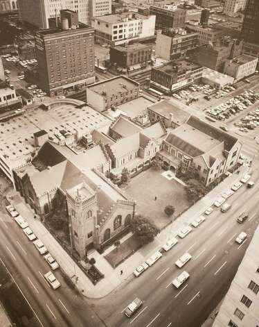 Aerial view of the cathedral complex circa 1960's, March 13, 2014 in Houston on display at Treebeards. Photo: Eric Kayne, For The Chronicle / Eric Kayne