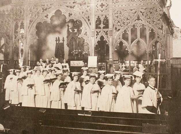 Choir procession following service conducted by Dr. James P. DeWolfe, Houston Chronicle, November 24, 1935, March 13, 2014 in Houston on display at Treebeards. Photo: Eric Kayne, For The Chronicle / Eric Kayne