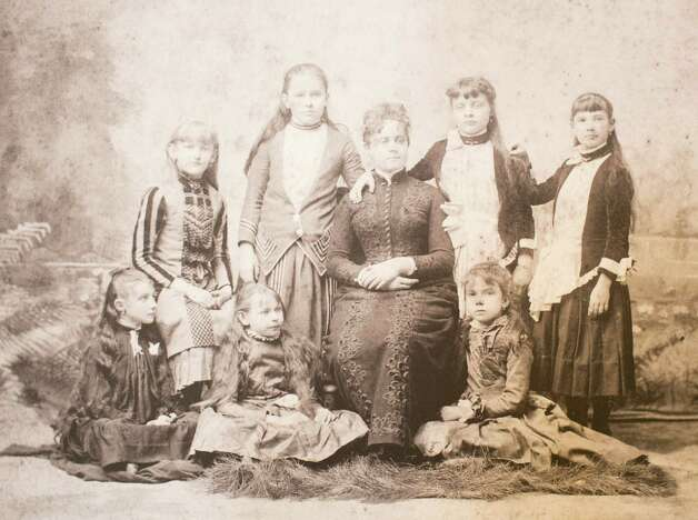 Miss Jennie Moore with her girls Sunday school class in 1887, March 13, 2014 in Houston on display at Treebeards. Photo: Eric Kayne, For The Chronicle / Eric Kayne