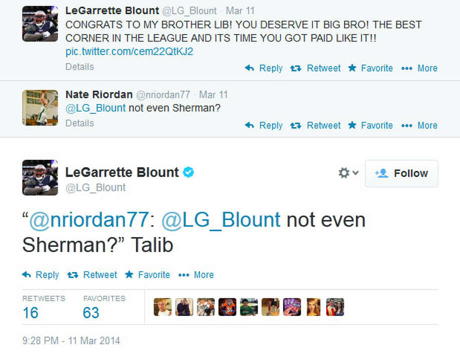 Many football fans immediately asked whether Blount meant Talib was better than Seahawks cornerback Richard Sherman. Blount held his ground. Photo: Screenshot, Twitter