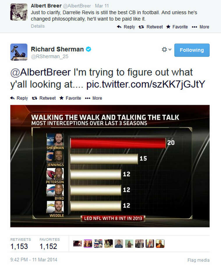 "Meanwhile, Sherman hadn't taken the bait — yet. During the time Blount was tweeting, Sherman was arguing with the NFL Network's Albert Breer, who said Darrelle Revis is ""still the best CB in football."" Sherman has taken on Revis before. Photo: Screenshot, Twitter"