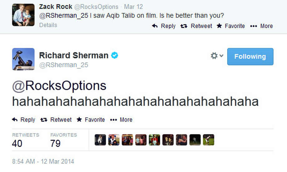 On Wednesday morning, everyday football fans were still talking about Talib versus Sherman. The tweet above was just one of Sherman's responses. Photo: Screenshot, Twitter