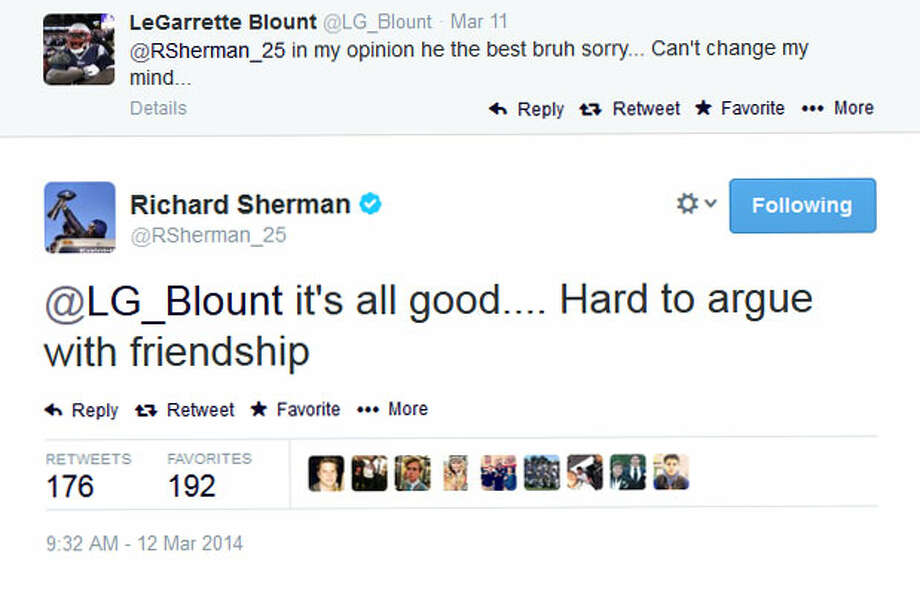 Finally, Sherman responded directly to Blount, suggesting that Blount only favored Talib because they are friends. Photo: Screenshot, Twitter