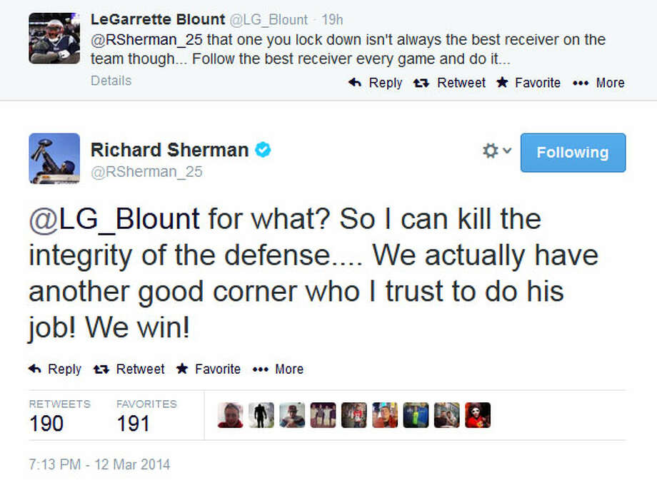Sherman responded twice to Blount's previous tweet, first by praising his teammates in the Seahawks' Legion of Boom secondary. Photo: Screenshot, Twitter
