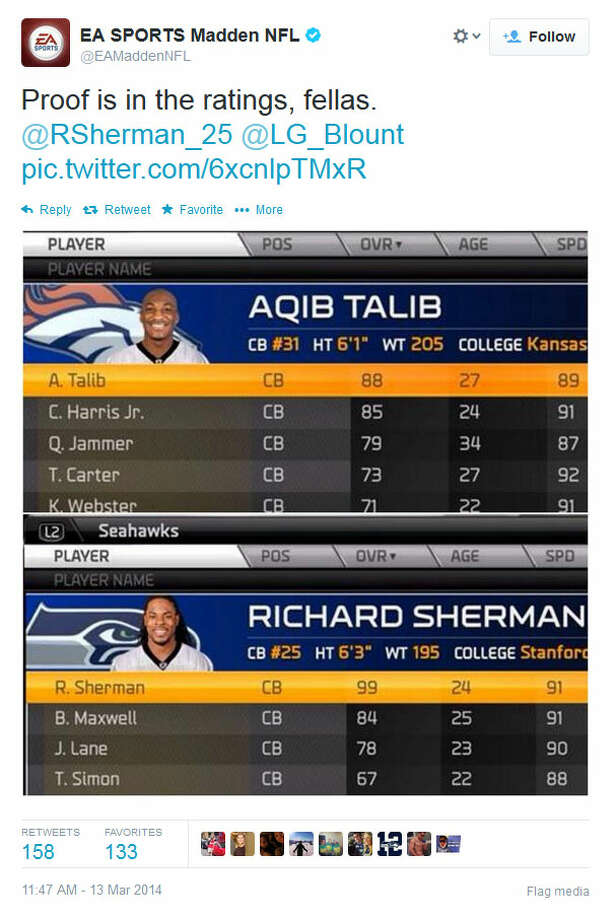"And, on Thursday morning, EA Sports tried to stir the pot by comparing Sherman's and Talib's rankings in the ""Madden 25"" video game. But the moment had passed; neither Sherman nor Blount responded. Photo: Screenshot, Twitter"