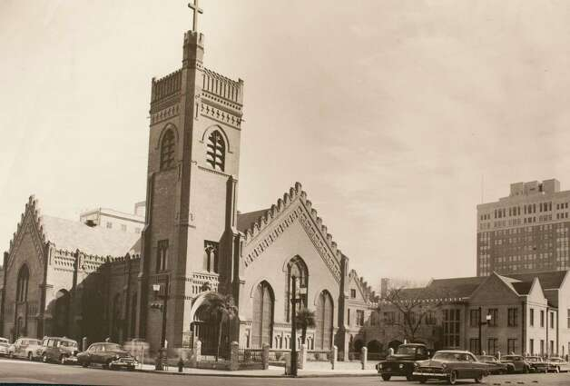 Third Christ Church, built 1893, facing Texas Avenue at Fannin Street on the site of the first two churches, circa 1950's, March 13, 2014 in Houston on display at Treebeards. Photo: Eric Kayne, For The Chronicle / Eric Kayne