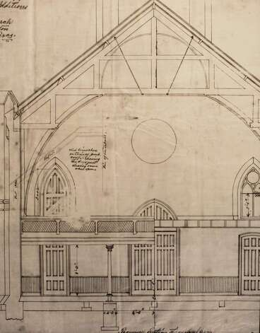 Architectural drawing, remodeled back wall of 1859 church showing upper gallery, March 13, 2014 in Houston on display at Treebeards. Photo: Eric Kayne, For The Chronicle / Eric Kayne