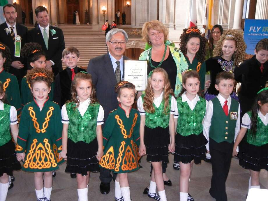 Mayor Ed Lee presented a Certificate of Honor to the Murphy School of Irish Dance at City Hall. Photo: Catherine Bigelow