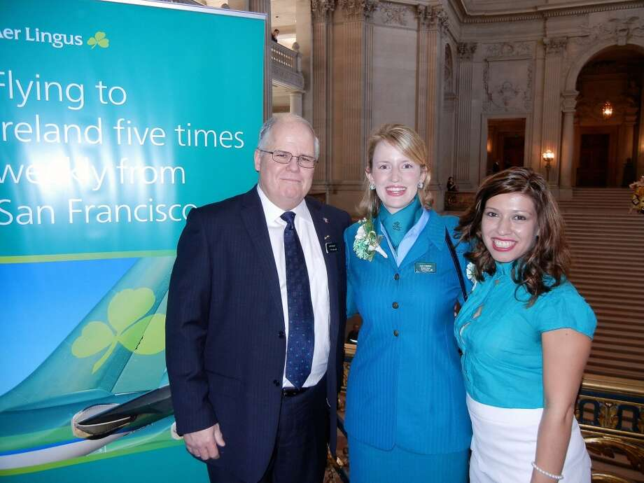 Aer Lingus' North America Director of Sales Jeff Wright (at left) with Ann O'Brien and Cynthia Lopez at City Hall. On April 2, the airline resumes direct service between SFO and Dublin. Photo: Catherine Bigelow