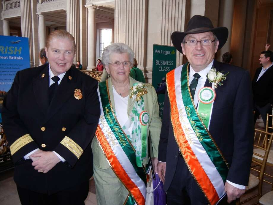 SFFD Chief Joanne Hayes-White (at left) with Margaret and Dan McAuliffe at City Hall. Photo: Catherine Bigelow