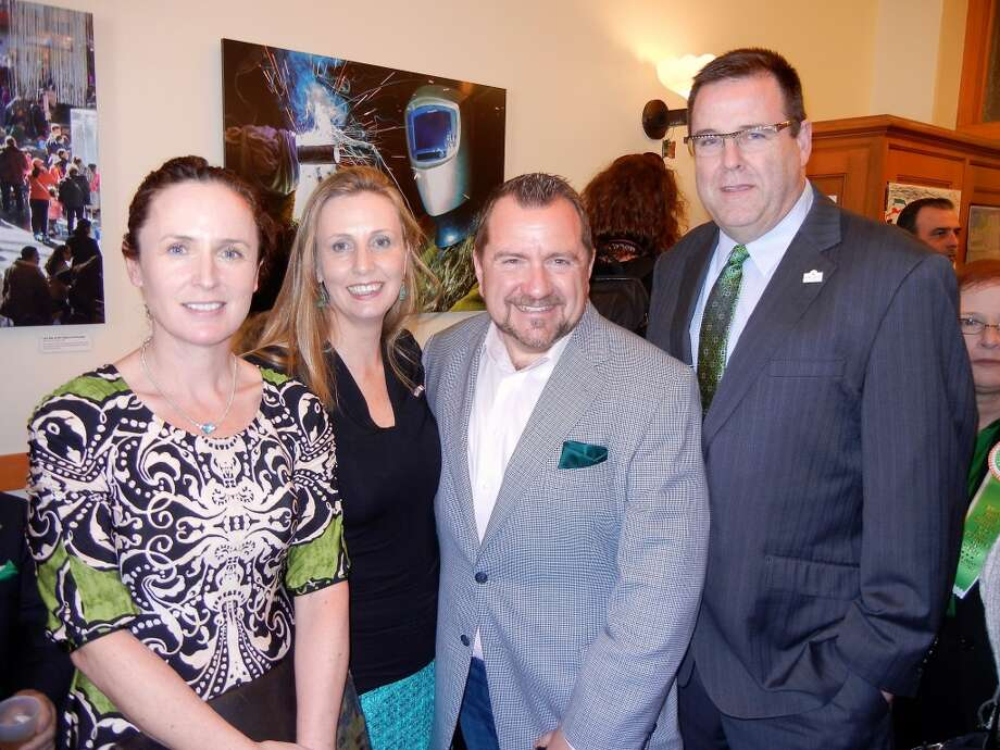 Sheila McCarthy (left) with Olivia Scanlon, Stern Grove Music Festival Director Steven Haines and S.F. Hotel Council Executive Director Kevin Carroll at City Hall. Photo: Catherine Bigelow