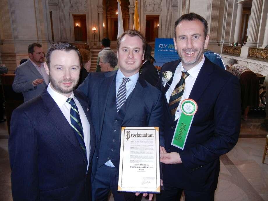 Joe Kiernan (at left) with SVB Capital Managing Director Barry O'Brien and Irish Consul General Philip Grant at City Hall. Photo: Catherine Bigelow