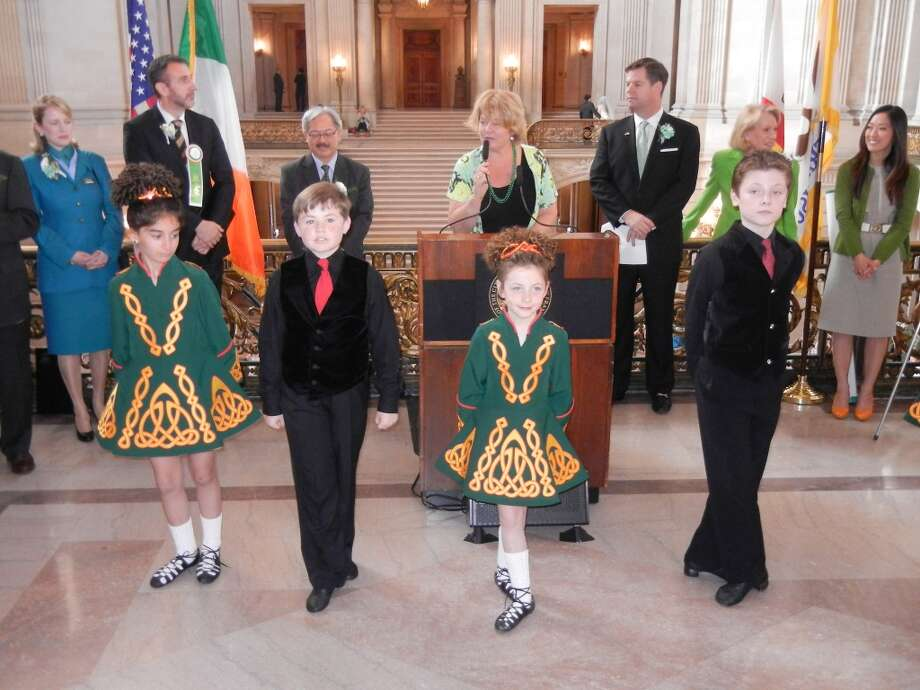 Members of the Murphy School of Irish Dance entertained the crowd at City Hall. Photo: Catherine Bigelow