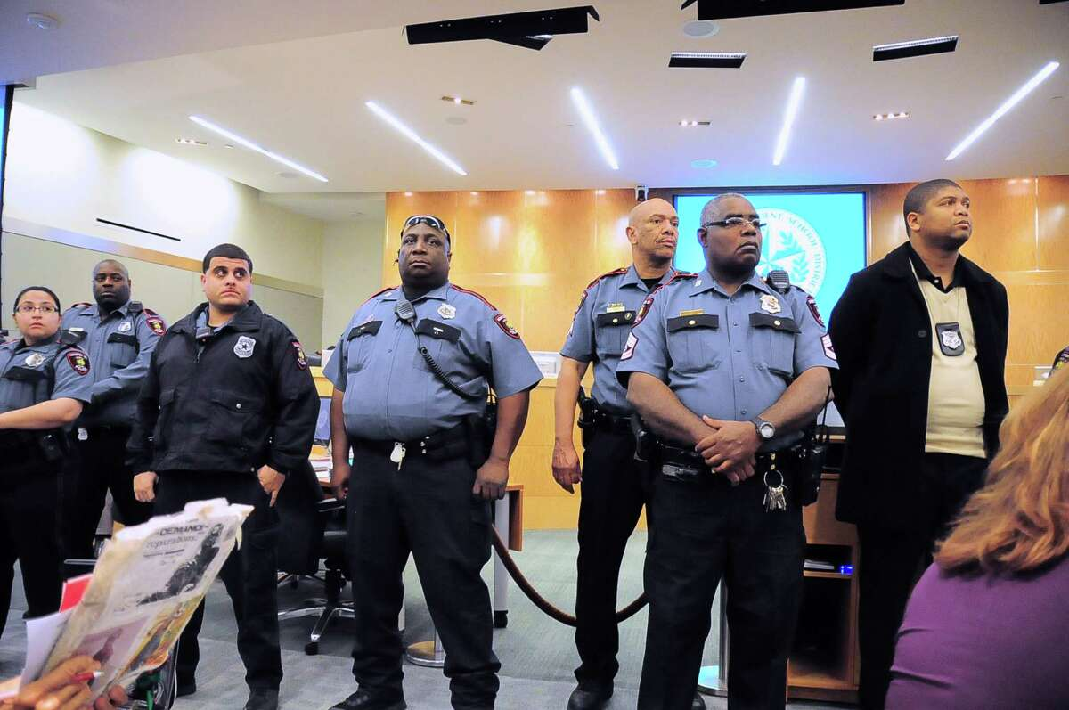 HISD police officers provided security at the Thursday night meeting, where tensions rose during debate over the fate of Jones High and Dodson Elementary. Protesters chanted and a man allegedly threatened Superintendent Terry Grier.