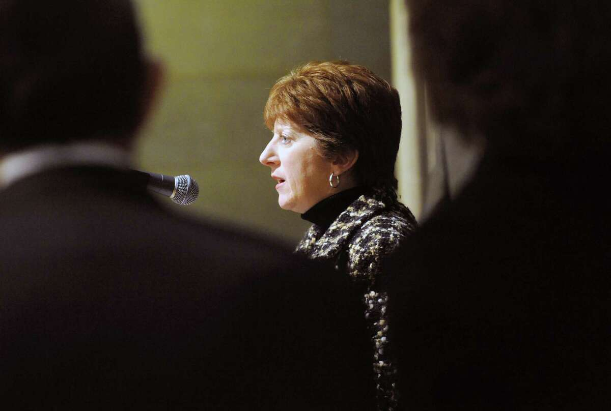 Mayor Kathy Sheehan makes an announcement regarding the Harriman PILOT language in the Assembly budget plan Thursday afternoon, March 13, 2014, at City Hall in Albany, N.Y. (Michael P. Farrell/Times Union)