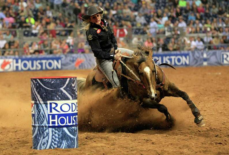 Shada Brazile competes in the Barrel Racing event in the final round of the BP Super Series lll Rode