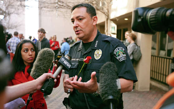 Austin Police Chief Art Acevedo answers questions from the media after a vigil at St. David's Episcopal Church, Thursday March 13, 2014 in Austin, Tx., for the victims of the South by Southwest crash. Photo: Edward A. Ornelas, San Antonio Express-News / © 2014 San Antonio Express-News