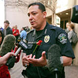 Austin Police Chief Art Acevedo answers questions from the media after a vigil at St. David's Episcopal Church, Thursday March 13, 2014 in Austin, Tx., for the victims of the South by Southwest crash.