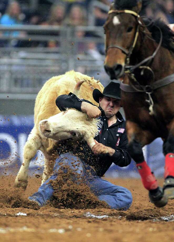 Luke Branquinho takes down a steer in 5.4 seconds earning him a first place in the Steer Wrestling event during the first round of the BP Super Series lV at Rodeo Houston in Reliant Stadium Thursday, March 13, 2014, in Houston. Photo: Johnny Hanson, Houston Chronicle / © 2014  Houston Chronicle