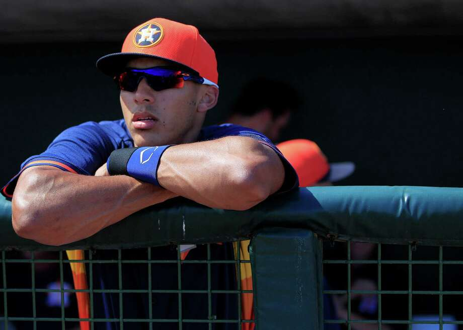 Despite being just 19, Astros shortstop prospect Carlos Correa looked the part of a major leaguer on Thursday, hitting a pair of home runs and excelling on defense. Photo: Karen Warren, Staff / © 2013 Houston Chronicle