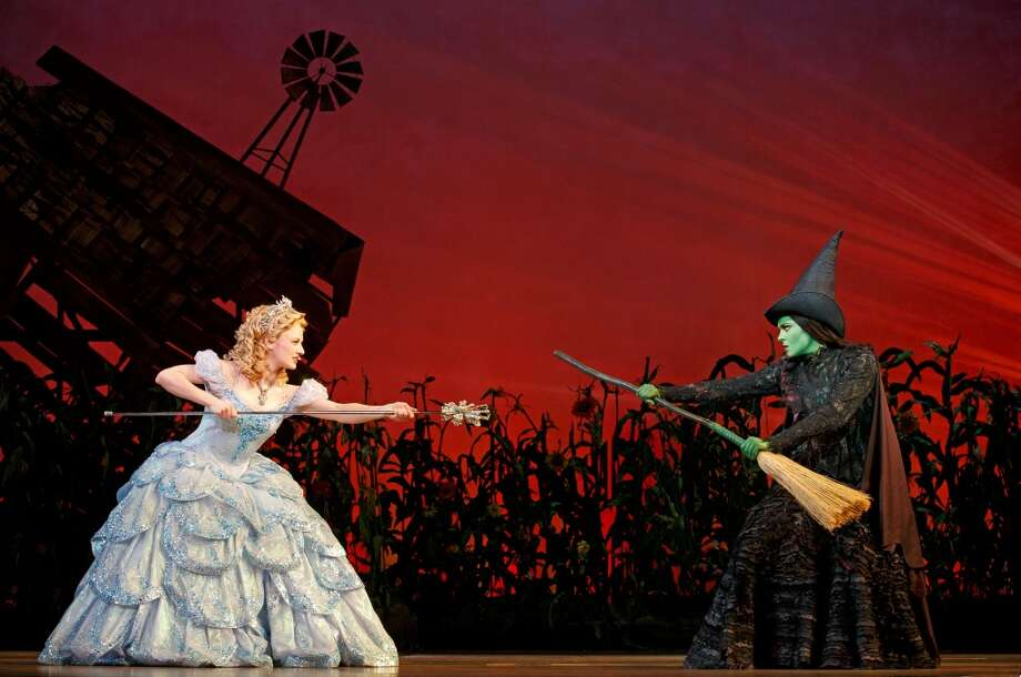 "Hayley Podschun and Jennifer DiNoia play Glinda and Elphaba in the national tour of ""Wicked."" Photo courtesy of Joan Marcus. Photo: ©2013 Joan Marcus"