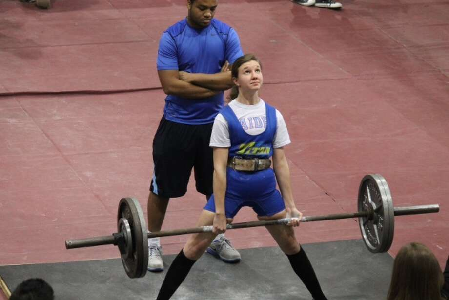 Lumberton's Mikayla Brinson during a competition at West Brook in February. Photo provided by Trenton Jones