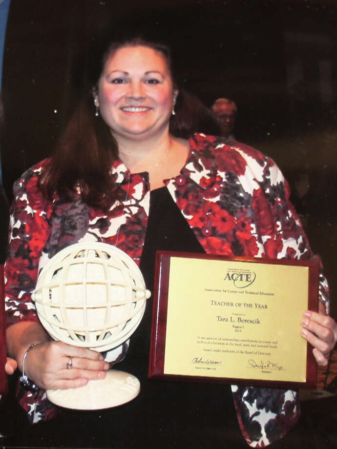 At the annual convention of the teachers/instructors of the Association of Career and Technical Education, the Region I winner, Tara Berescik of Grahamsville, New York, was named National Teacher of the Year for 2014.  Berescik, a graduate of Trumbull High School, was a Trumbull resident until she completed her masters degree at Virginia Polytechnic Institute and accepted a teaching position in agricultural education at Tri Valley Central School in Grahamsville, New York. Photo: Contributed Photo / Connecticut Post Contributed