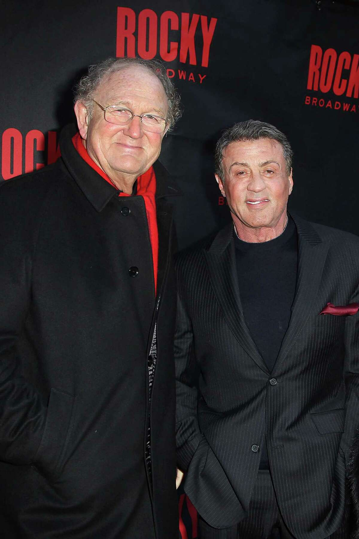 This image released by Starpix shows producer Joop Van Den Ende, left, with actor Sylvester Stallone at opening night of the Broadway musical