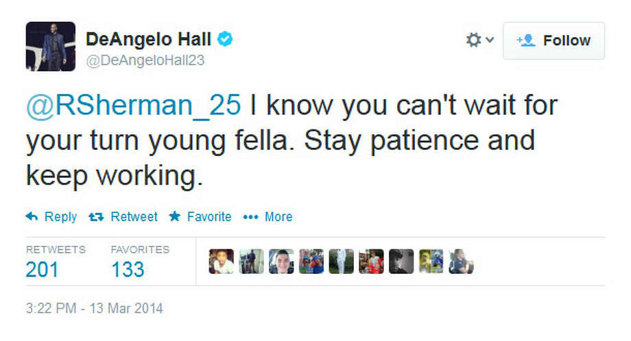 Apparently responding to the Twitter spat between Richard Sherman and LeGarrette Blount earlier this week, veteran Redskins cornerback DeAngelo Hall started things off Thursday evening by all but baiting Sherman into another war of words. Photo: Screenshot, Twitter
