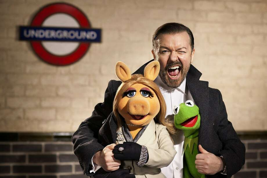 "Ricky Gervais joins Miss Piggy and Kermit for a jewel caper in ""Muppets Most Wanted."" Photo: Greg Williams, McClatchy-Tribune News Service"