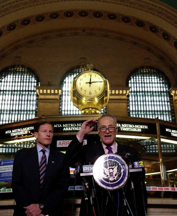 "U.S. Sen. Richard Blumenthal, D-CT, left, and U.S. Sen. Charles Schumer, D-NY, comment on a report by the Federal Railroad Administration about the Metro-North Railroad, at the information booth in New York's Grand Central Terminal,  Friday, March 14, 2014. Metro-North commuter railroad has allowed an overemphasis on train times to ""routinely"" overshadow its safety operations, according to an FRA review that was released Friday. Photo: Richard Drew, AP Photo/Richard Drew / Associated Press AP Photo/Richard Drew"