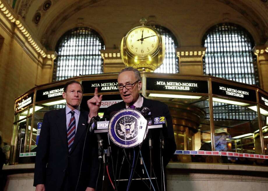 "U.S. Sen. Richard Blumenthal, D-CT, left, and U.S. Sen. Charles Schumer, D-NY, comment during a news conference on a report by the Federal Railroad Administration about the Metro-North Railroad, at the information booth in New York's Grand Central Terminal, Friday, March 14, 2014. Metro-North commuter railroad has allowed an overemphasis on train times to ""routinely"" overshadow its safety operations, according to an FRA review that was released Friday. Photo: Richard Drew, AP Photo/Richard Drew / Associated Press AP Photo/Richard Drew"