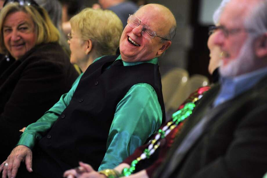 Stephen Maruszak, of Westport, laughs out loud as the Baldwin Players present their St. Patrick's Revue Friday, Mar. 14, 2014 at the Baldwin Center in Stratford, Conn. Photo: Autumn Driscoll / Connecticut Post