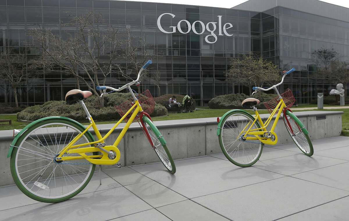 This file photo shows Google bicycles at the Google campus in Mountain View. Google has become an aggressive buyer of renew able power, as have many other companies.