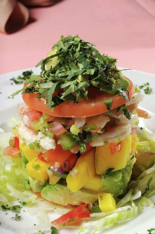 The Napoleon de Ceviche at Pico's Mex-Mex is a tower of lime-marinated snapper and Gulf shrimp with pico de mango and avocado. Photo: Dave Rossman, Freelance / Freelance